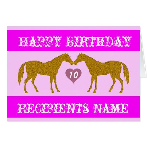 Pink Horse Age Birthday Card - Horse Age Card 10