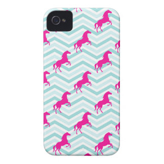 Pink Horse, Equestrian, Teal Green Blue iPhone 4 Cover