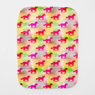 Pink Horse Lover Running Pony Equestrian Foal Burp Cloth