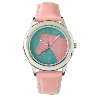 Pink Horse on Turquoise Watch