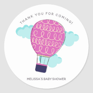 Pink Hot Air Balloon Baby Shower Thank You Classic Round Sticker