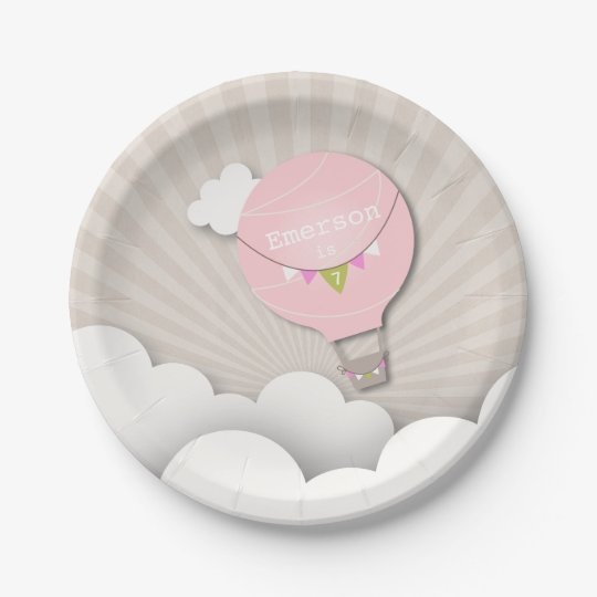 Pink Hot Air Balloon Birthday 7 Inch Paper