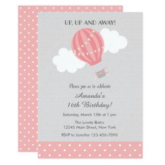 Pink Hot Air Balloon Birthday Invitation