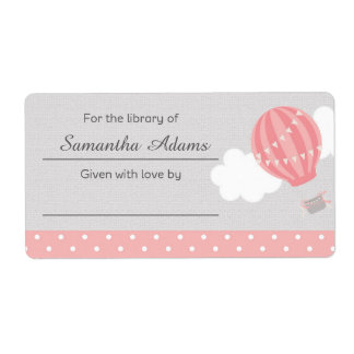 Pink Hot Air Balloon Bookplate Label Sticker Shipping Label