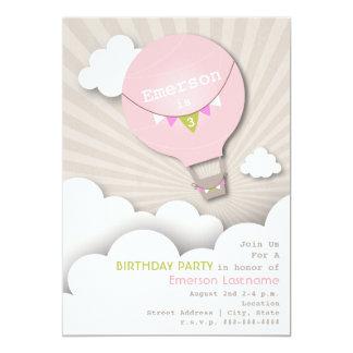 Pink Hot Air Balloon & Clouds Girl's Birthday 13 Cm X 18 Cm Invitation Card