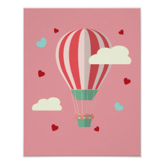 Pink Hot Air Balloon Flying Against Cloudy Sky Poster