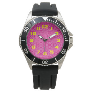 Pink Hot Squiggly Squares Wristwatch