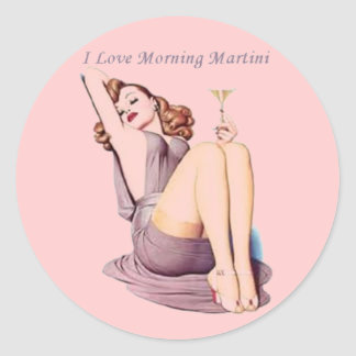 Pink Hot vintage retro Pinup Girl Martini Stickers