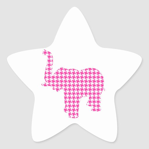 Pink Houndstooth Elephant Star Stickers