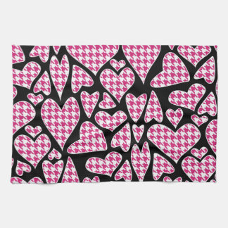 Pink Houndstooth Hearts Kitchen Towel