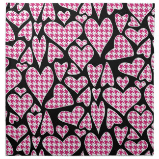 Pink Houndstooth Hearts Printed Napkin