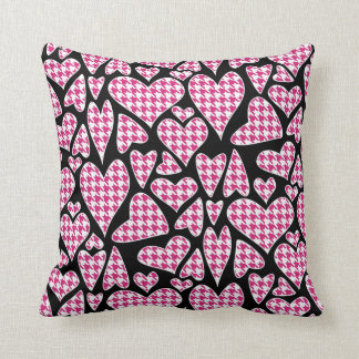 Pink Houndstooth Hearts Throw Pillow