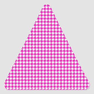 Pink Houndstooth Pattern Triangle Stickers