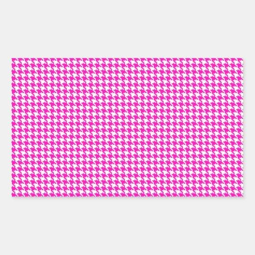 Pink Houndstooth Pattern Rectangular Sticker