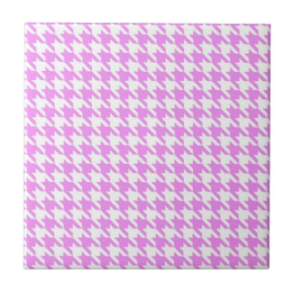 Pink Houndstooth Small Square Tile