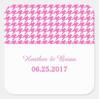 Pink Houndstooth Wedding Stickers
