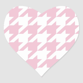 Pink,houndstooth,white,pattern,trendy,cute,girly, Heart Sticker