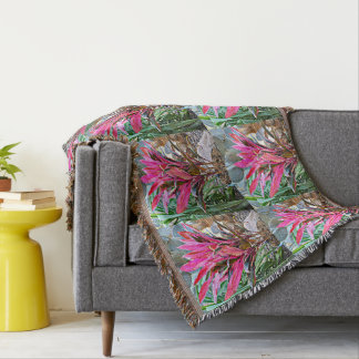 Pink House Plant Throw Blanket