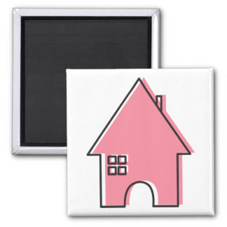 Pink House Square Magnet