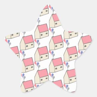 Pink house star sticker