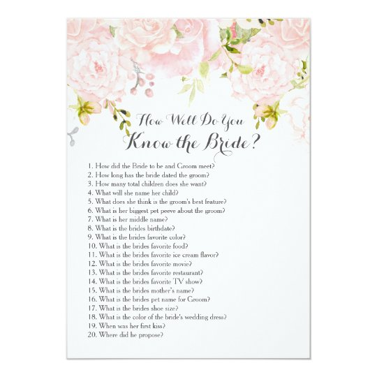 Pink How well do you know the bride? Card