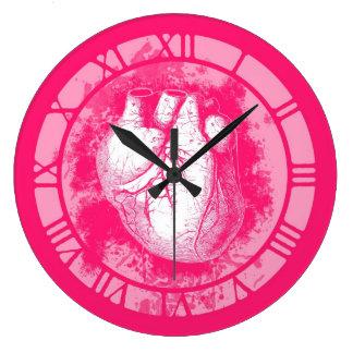 Pink Human Heart Clocks