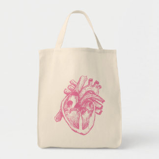 Pink Human Heart Grocery Tote Bag