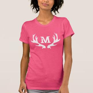 Pink Hunting deer antler monogram tshirt for women
