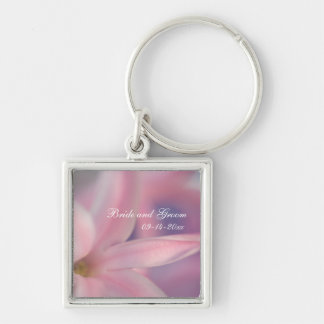 Pink Hyacinth Flowers Wedding Key Ring