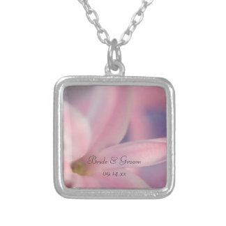 Pink Hyacinth Flowers Wedding Silver Plated Necklace