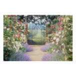 Pink Hybrid Rose-Lined Path To Gate, Underplanted Print