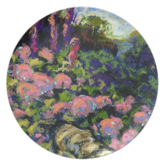 Pink Hydrangea and a Stone Wall Plate