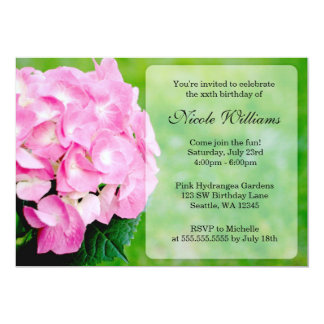 Pink Hydrangea Blossom Birthday Party Card