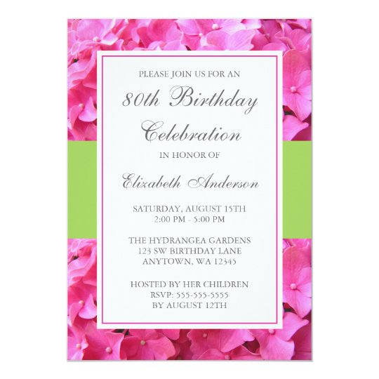 Pink Hydrangea Border Green 80th Birthday Party Card