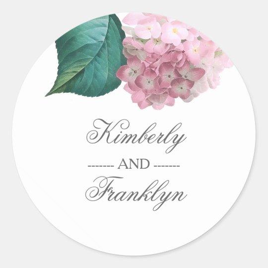 Pink Hydrangea Botanical Vintage Floral Wedding Classic Round