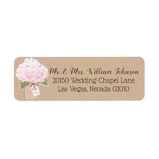 Pink Hydrangea Bouquet Label