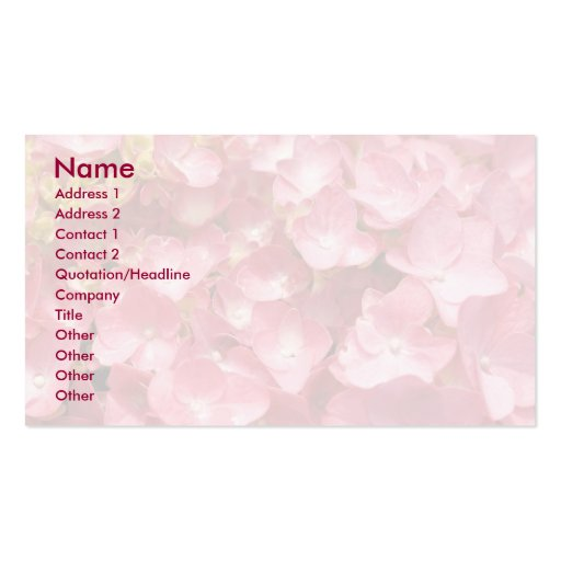 Pink hydrangea Double-Sided standard business cards (Pack of 100)