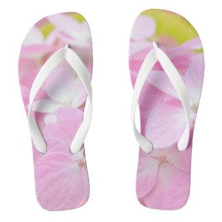 Pink Hydrangea Flip Flops