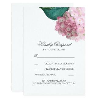 Pink Hydrangea Floral Wedding RSVP Cards