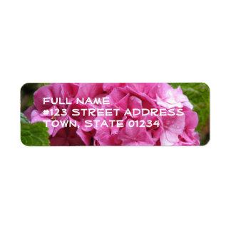 Pink Hydrangea Flower Mailing Label