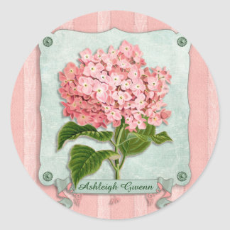 Pink Hydrangea Green Ribbon Striped Paper Cutouts Round Sticker