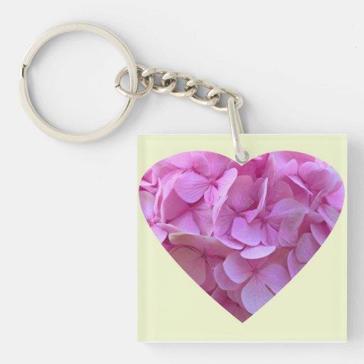"""""""Pink Hydrangea Heart"""" Keychains"""