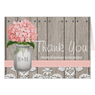 Pink Hydrangea Monogrammed Mason Jar THANK YOU Card