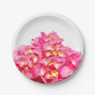 Pink Hydrangea Paper Plate