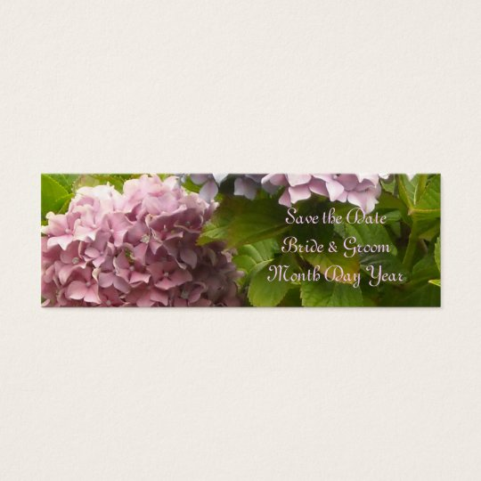Pink Hydrangea Save the Date Mini Business Card