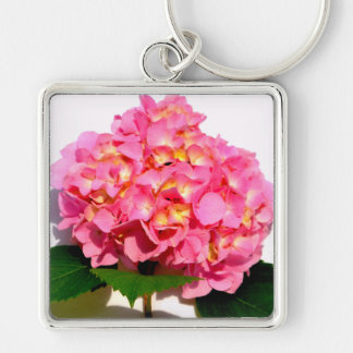 Pink Hydrangea Silver-Colored Square Key Ring