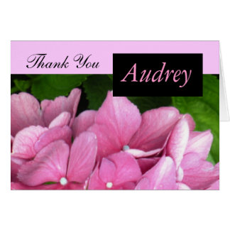 Pink Hydrangea Thank You Card with Name