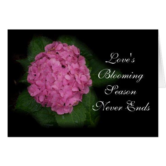 Pink Hydrangea Valentine Card