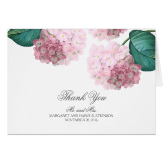 Pink Hydrangea Vintage Floral Wedding Thank You Card