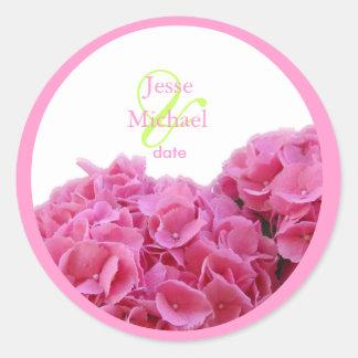 Pink Hydrangea wedding stickers, custom trim Round Sticker